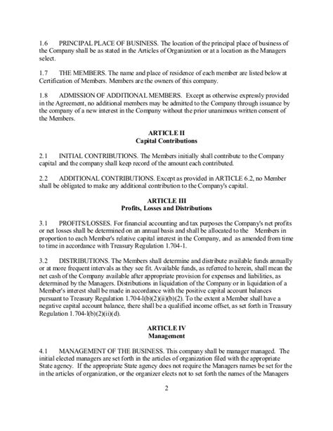 limited liability company agreement template sle operating agreements leadership development