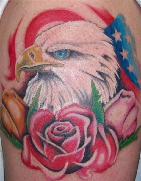 eagle tattoo with roses american patriotic tattoo with eagle and roses