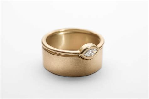 unique bridal ring set solid gold wide wedding band marquise