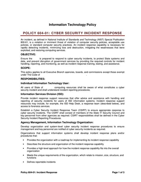 Incident Response Policy Fbi Security Incident Response Policy Template