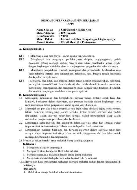 Explore Ipa Untuk Smp Mts Kelas 7 Kur 2013 Revisi 9 rpp intraksi makhluk hidup dengan lingkunganya ok