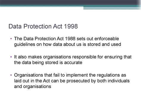 data protection act 1998 section 7 e commerce p2 legislation презентация онлайн