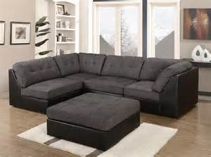 grey black leather fabric material corner sofa bed suite