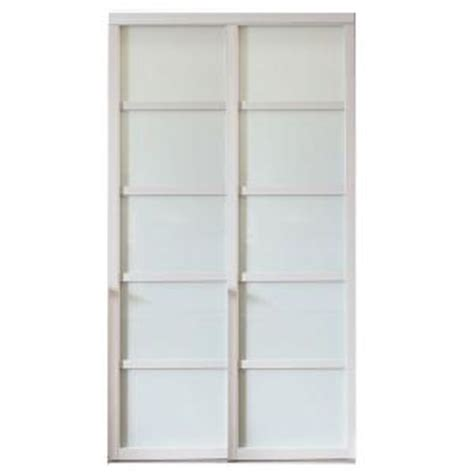 Glass Panel Door Home Depot Contractors Wardrobe 60 In X 96 In Tranquility Glass Panels Back Painted White Wood Frame