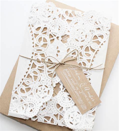 diy wedding invitations paper doilies rustic kraft paper doily invitations