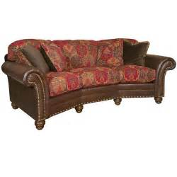King Hickory Leather Sofa Leather And Fabric Conversation Sofa 9765 Lf Katherine King Hickory Outlet Discount Furniture