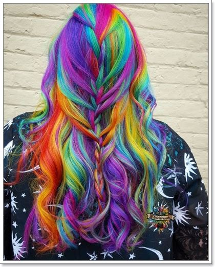 Jual Rambut Palsu Warna Warni tren warna warni pelangi pada rambut
