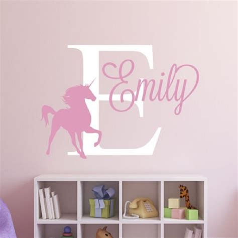 personalized wall decor for home unique personalized custom name unicorn removable decal