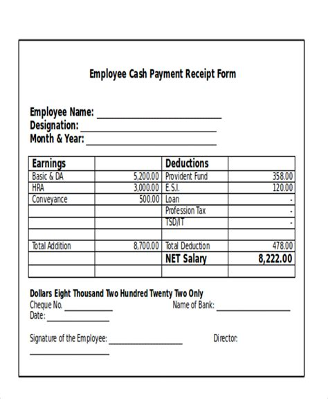 28 receipt for cash payment template receipt