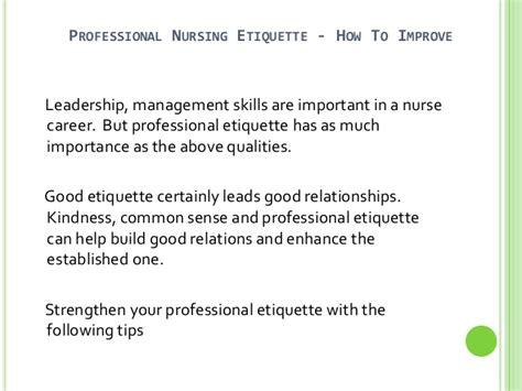 how to improve professional nursing etiquette