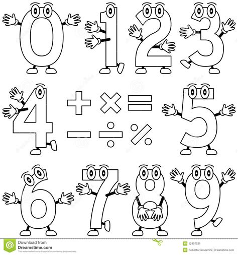 cartoon numbers coloring pages coloring cartoon numbers stock vector illustration of