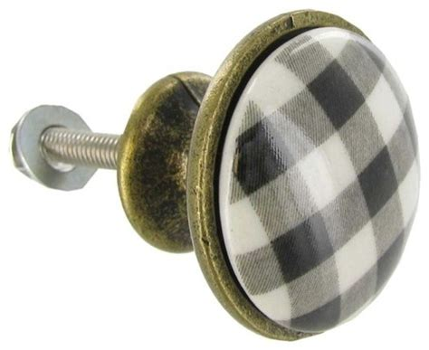 black white plaid ceramic knob transitional