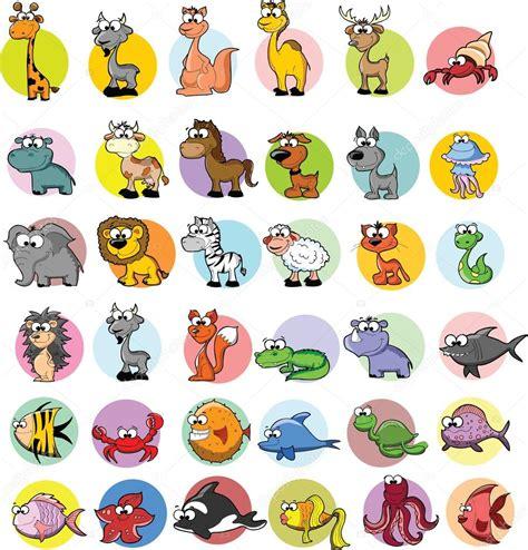 imagenes vectores de animales conjunto de vectores animales de dibujos animados vector