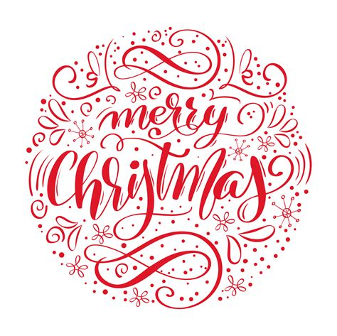 merry christmas handwritten text hand drawn calligraphy  lettering  form  circle vector