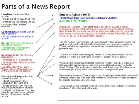 sle of newspaper report writing 9 best images of components of a newspaper article news