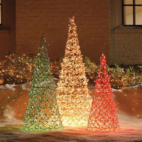 lighted trees home decor lighted cone trees knock off idea paint tomato cages