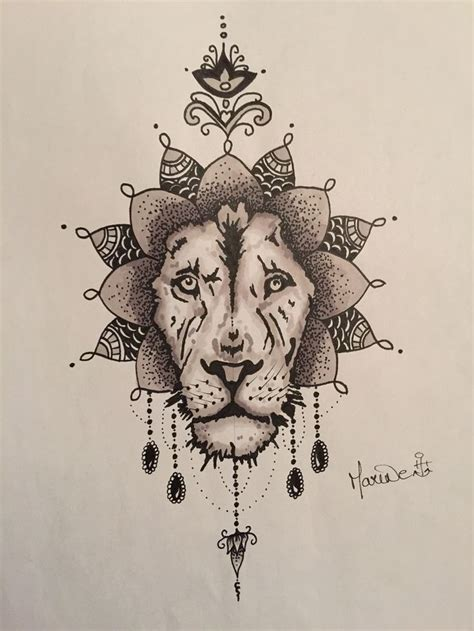 lion mandala tattoo draw mandala ethnic mes tatouages et