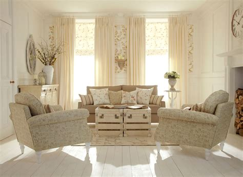 neutral beige family room interior set in shabby chic