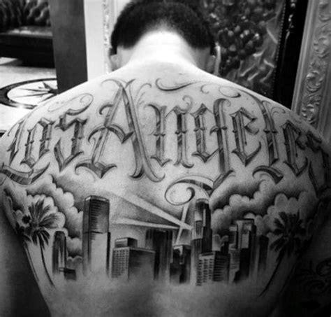 los angeles skyline tattoo designs  men southern california ink ideas