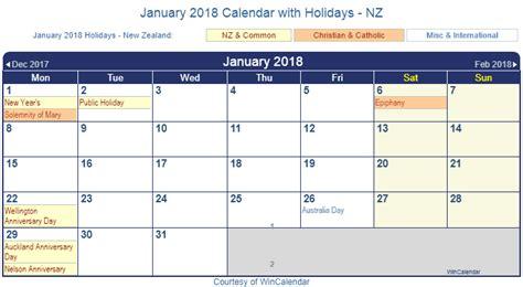 printable calendar nz print friendly january 2018 new zealand calendar for printing
