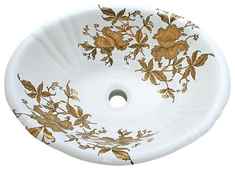 Painted Undermount Bathroom Sinks Gold Orchids Painted Drop In Basin Traditional