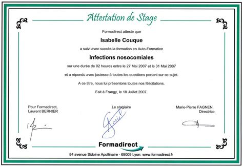 Attestation De Stage Lettre Type Modele Attestation Stage Document
