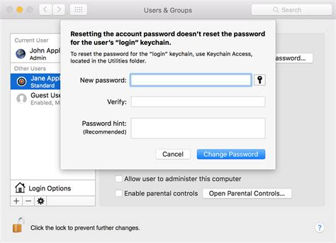 reset blackberry username change or reset the password of a macos user account