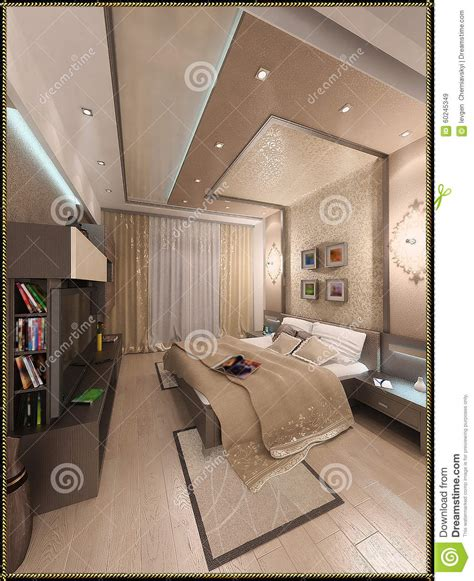 are interior layout time 3d render modern interior of bedroom royalty free stock