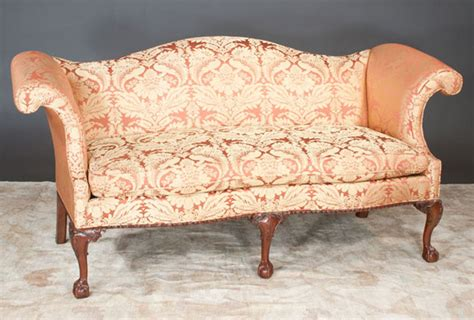 camel back sofa with rolled arms chippendale camel back sofa clark antiques gallery