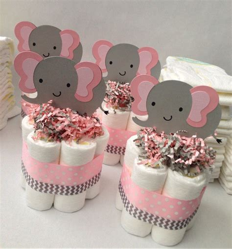 Baby Shower Centerpieces four pink grey elephant mini diaper cakes baby shower