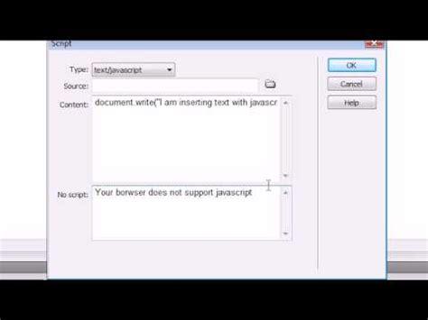 dreamweaver tutorial javascript dreamweaver cs4 tutorial 20 inserting javascript youtube