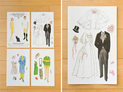 How To Fold And Cut Paper Dolls - happiness is paper doll save the dates all sorts of pretty