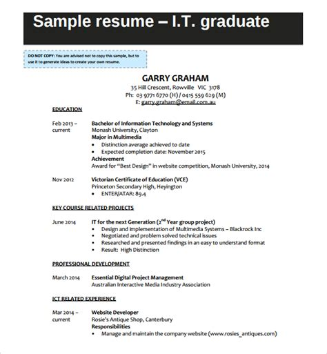 graduate cv template word sle it cv template 7 free documents in word