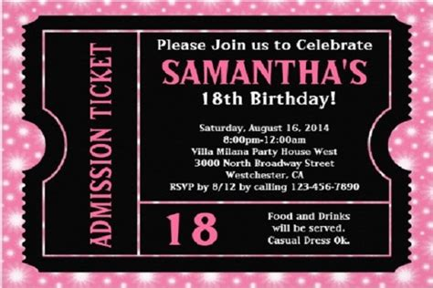 18th birthday card template 18th birthday invitations templates