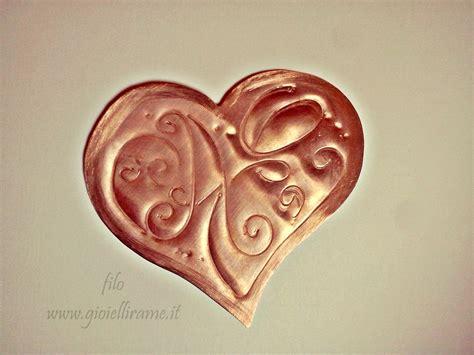 cuore con lettere segnalibro a cuore con iniziali a e gioielli in rame