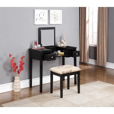 linon home decor linon home decor black bedroom vanity table with butterfly