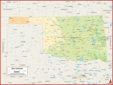 geographical map of oklahoma oklahoma physical state map