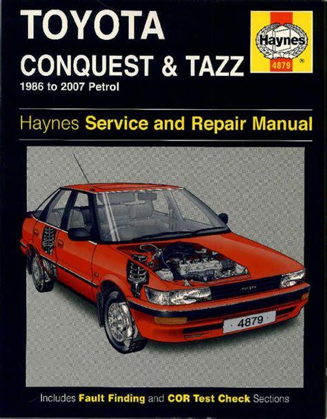 workshop manuals haynes 4879 toyota conquest tazz 1986
