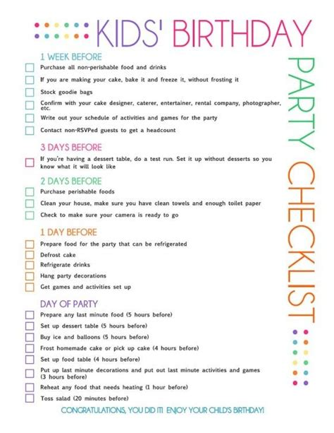 birthday themes list 17 best ideas about birthday party checklist on pinterest