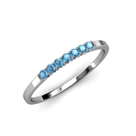 wedding bands in ct 2 00 mm blue topaz 7 wedding band 0 25 ct tw