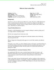 Behavior Support Plan Template by Resume Business Template Behavior Intervention Plan Template