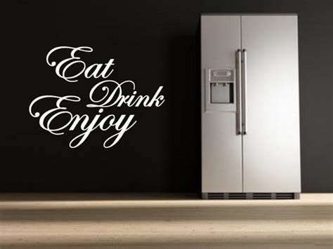 eat drink enjoy quote stickers kitchen dining room wall stickers store uk shop wall stickers wall decals product decal decor
