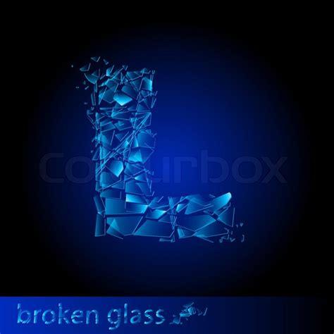 one letter of broken glass l illustration on black