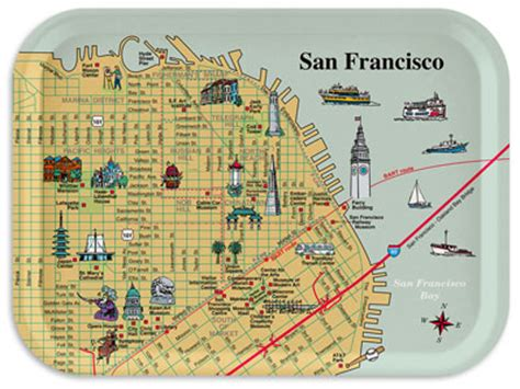 san francisco map of downtown map of downtown san francisco with pictorial illustrations