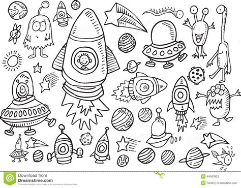 doodles in outer space 1539195775 outer space doodle vector set stock vector image 44563922