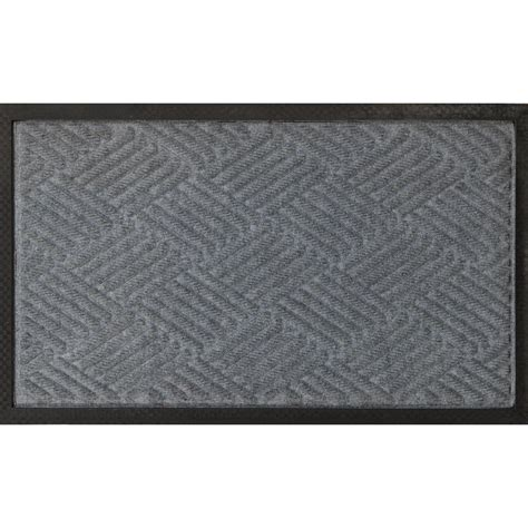 Carpet Doormat by Ottomanson Silver 18 In X 30 In Ribbed Carpet