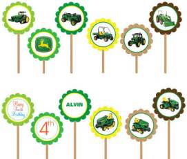 john deere tractor printable diy circle cupcake toppers