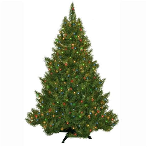 General Foam 4 5 Ft Pre Lit Carolina Fir Artificial Multi Color Tree