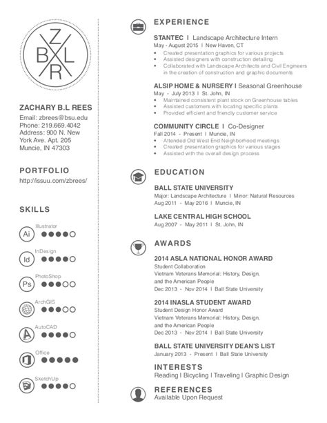 Resume Template Landscape Architect 2016 Landscape Architecture Resume Zachary B L Rees