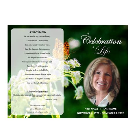 memorial phlets free templates butterfly memorial program funeral phlets